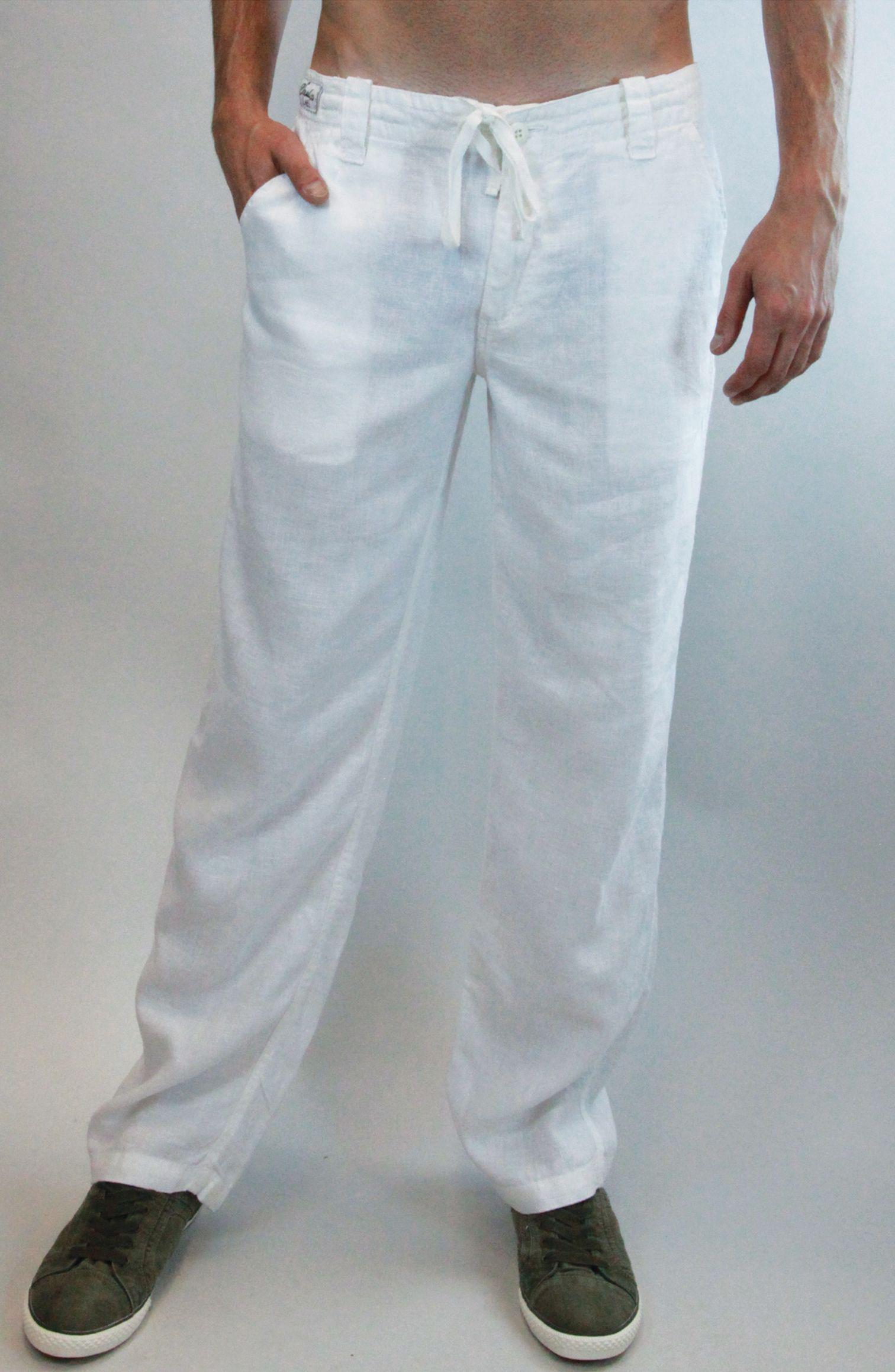 33743f3890 100% Linen Relaxed Pant with Drawstring in White | 100% Luxe Linen ...