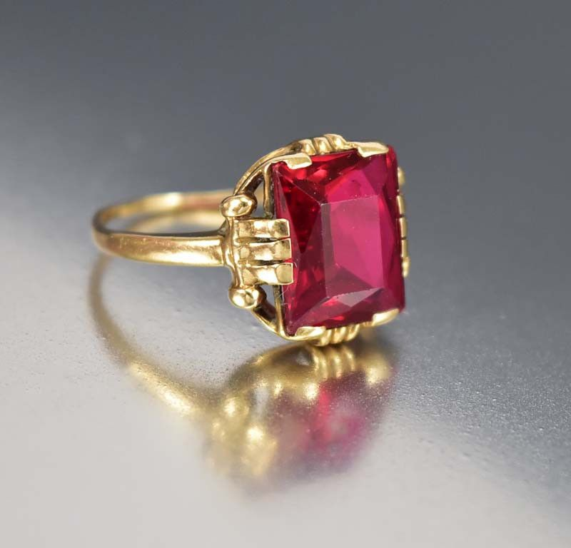 Art Deco Ruby Engagement Ring 10k Gold Ruby Engagement Ring 14k White Gold Engagement Rings Blue Topaz Engagement Ring