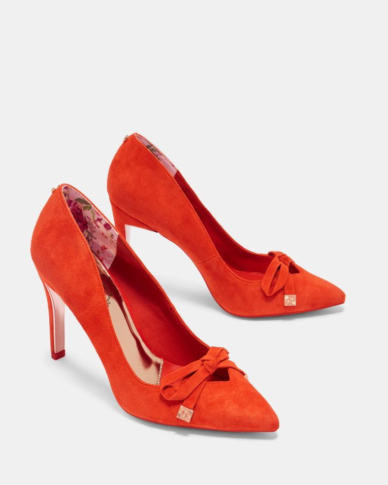 Suede bow detail courts - Bright Orange