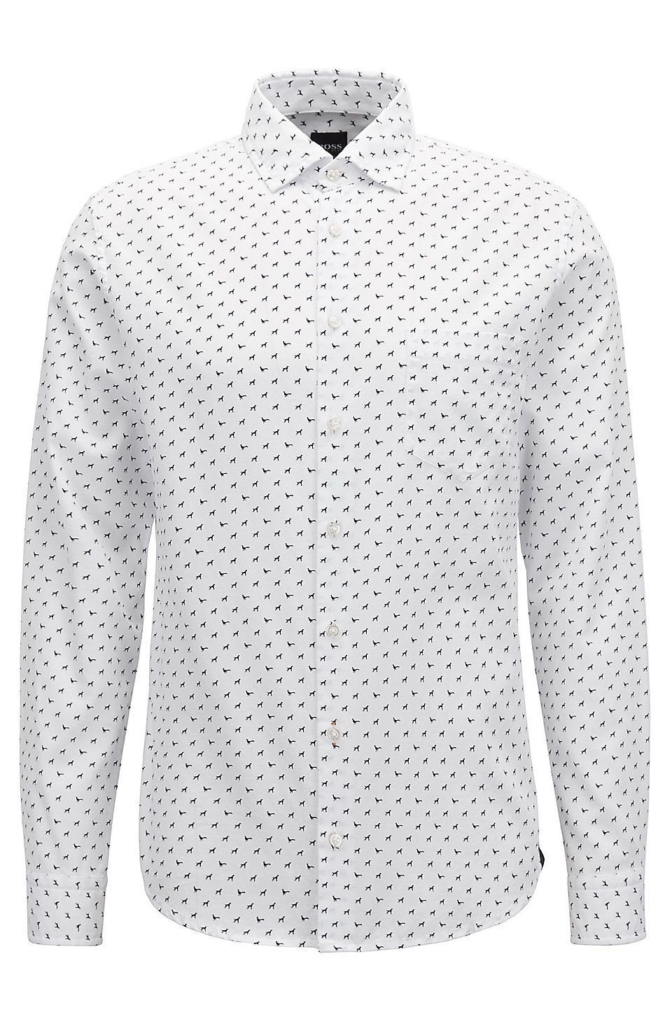 71d5e71a HUGO BOSS Slim-fit shirt in cotton with dog motif - White Casual Shirts  from BOSS for Men in the official HUGO BOSS Online Store free shipping