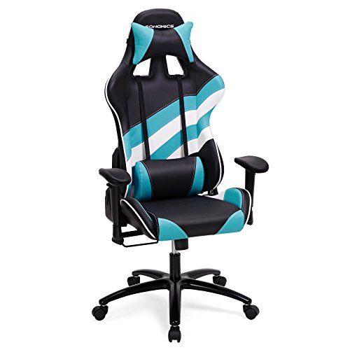 SONGMICS Gaming Racing Chaise Fauteuil De Bureau Avec Accoudoir Reglable Support Lombaire Appui Tete 66x 72x 124132cm Rcg37buuk