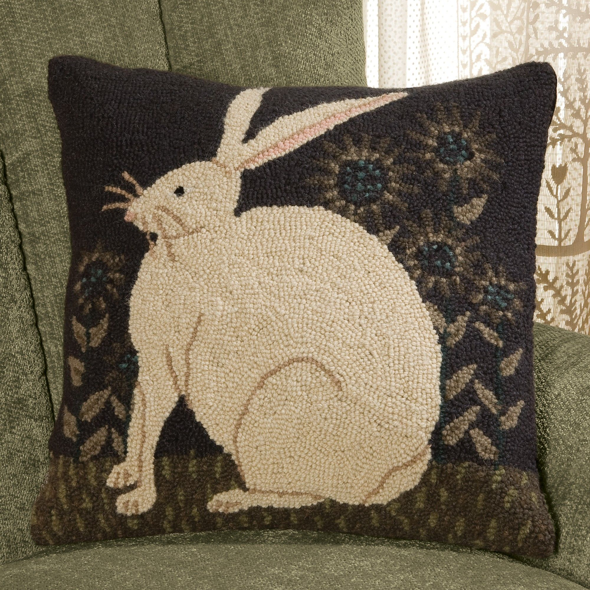 Sunflower Rabbit Pillow Rug Hooking Designs Rug Hooking