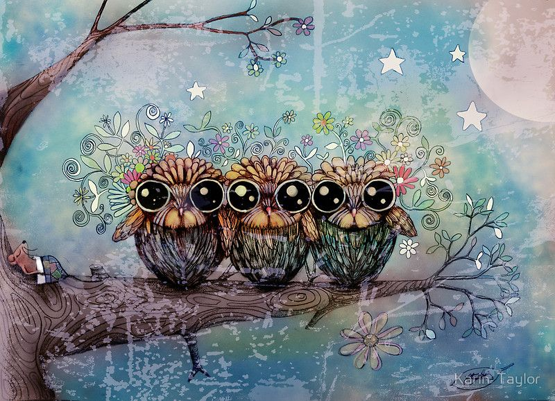"""three little night owls"" by Karin Taylor 