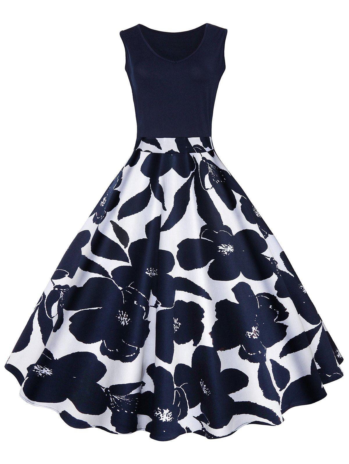 Vintage Print A Line High Waisted Dress -