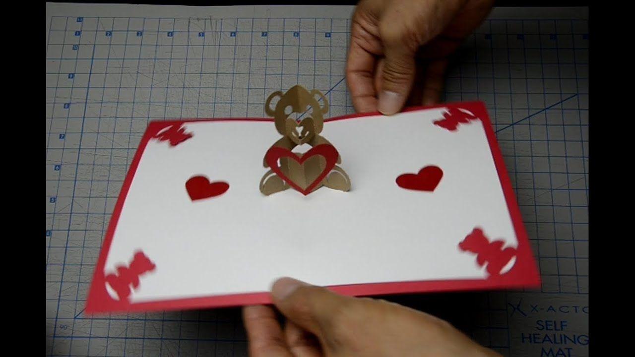 Teddy Bear Pop Up Card Tutorial Within Teddy Bear Pop Up Card Template Free Cumed Org In 2020 Heart Pop Up Card Pop Up Card Templates Valentine Card Template