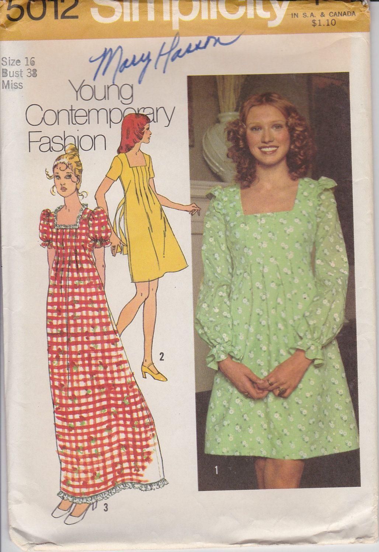 70s Babydoll Dress Sewing Pattern 1970s Maxi Dress Pattern Size 16 ...