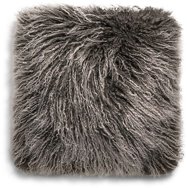 Mongolian Sheepskin Fur Decorative Pillow 16 X 16 Grey Throw