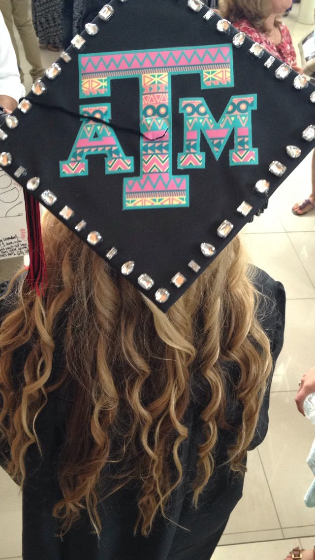 Texas am university graduation cap diy idea use a car window sticker decal and stick it to your cap super cheap easy and cute