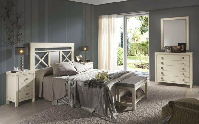 Creme Farbe Bett Nachttisch Klassische Kommode Spiegel