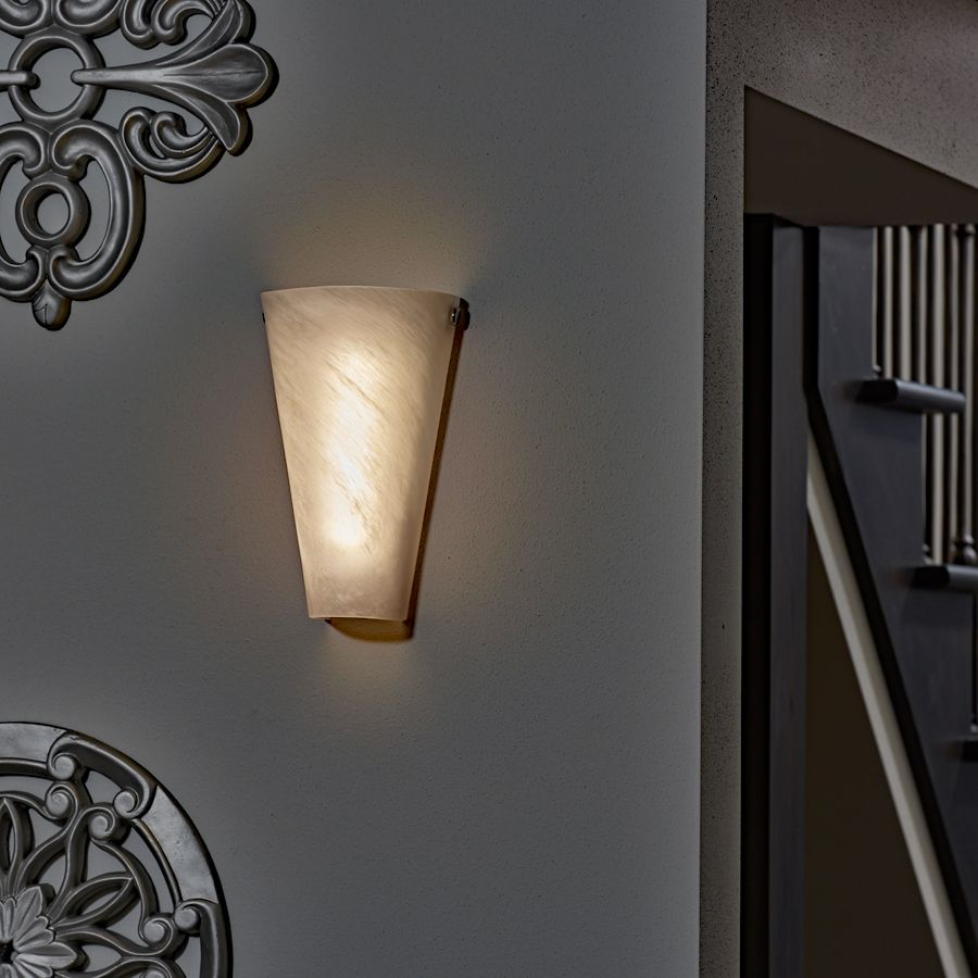 Battery Powered Wall Sconce Frosted Marble Conical Shade Indoor Outdoor Battery Operated Wall Sconce Battery Wall Lights Wireless Wall Sconce