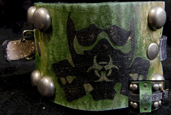 Wastelander Biohazard Mask Leather Cuff  by HavocLeatherWorx