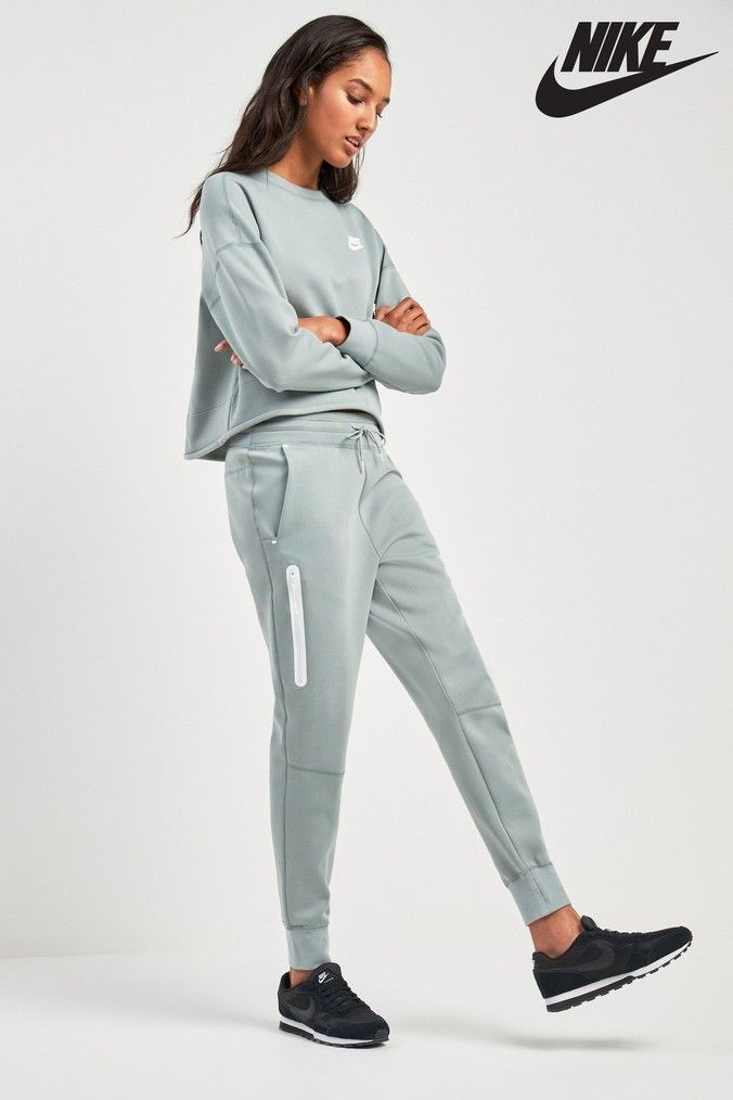 Womens Nike Tech Fleece Pant - Green  85971e727d