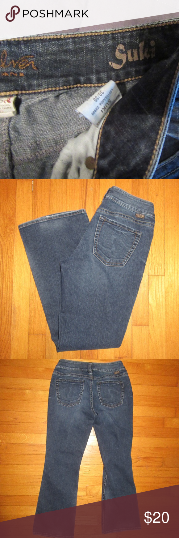 70bda801 Silver Suki Jeans Western Glove Works Size 30X30 In good used condition and  from smoke free home. Some wear on bottom of legs.