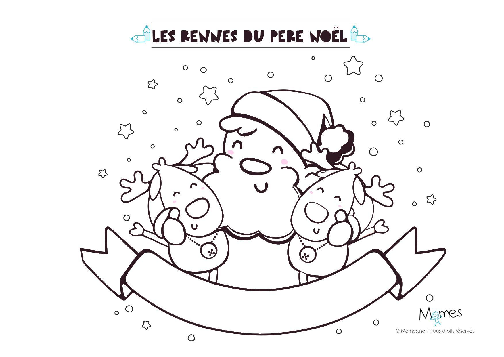 Coloriage De Noël Le Père Noël Et Ses Rennes Coloriage