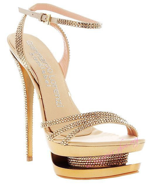 Gianmarco Lorenzi strappy, Swarovski crystal encrusted sandals.