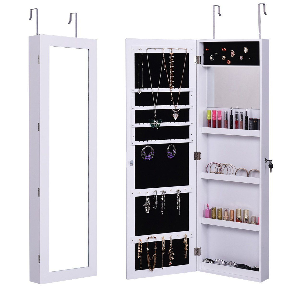 Amazoncom Giantex Wall Mount Mirrored Jewelry Cabinet Lockable