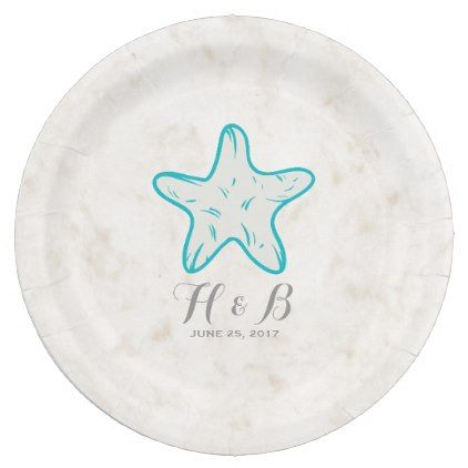 #simple - #Turquoise Rustic Starfish Wedding Paper Plate  sc 1 st  Pinterest : paper plate starfish - pezcame.com