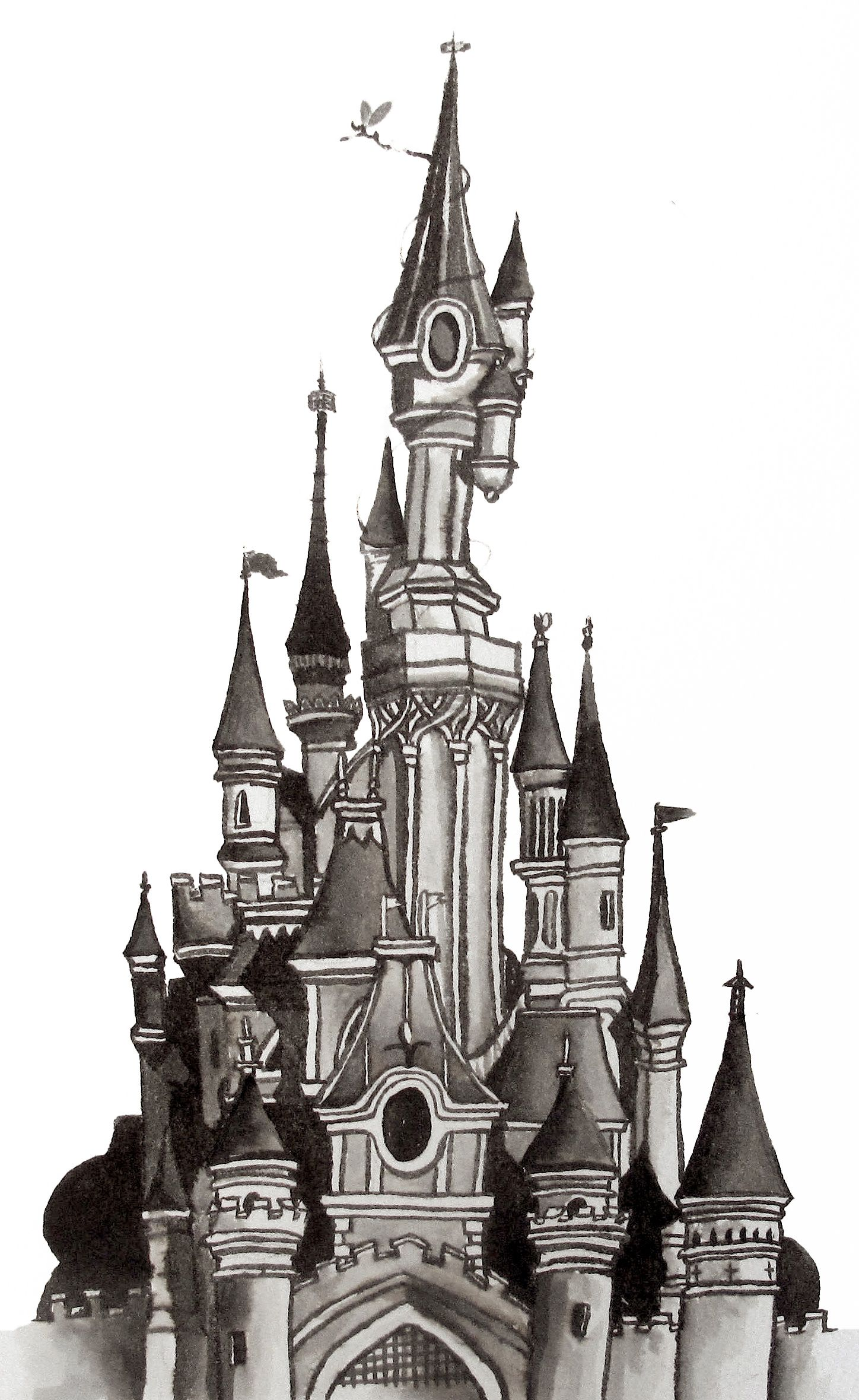 Architectural ink drawing illustration of the disneyland paris sleeping beauty castle on a5 - Chateau disney dessin ...
