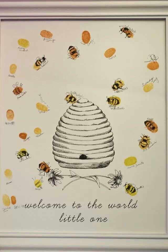 Thumbprint bee hive guest book | What will it BEE? in 2019 ...
