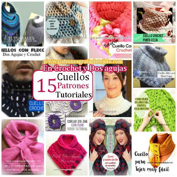 15 Cuellos de Abrigo Para Tejer / Colección   Crochet y Dos agujas ...