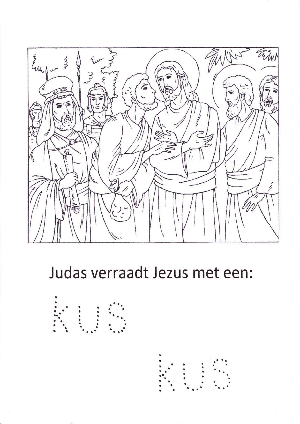 Kleurplaat Judas Verraadt Jezus Met Een Kus Bijbel Kleurplaten Testament