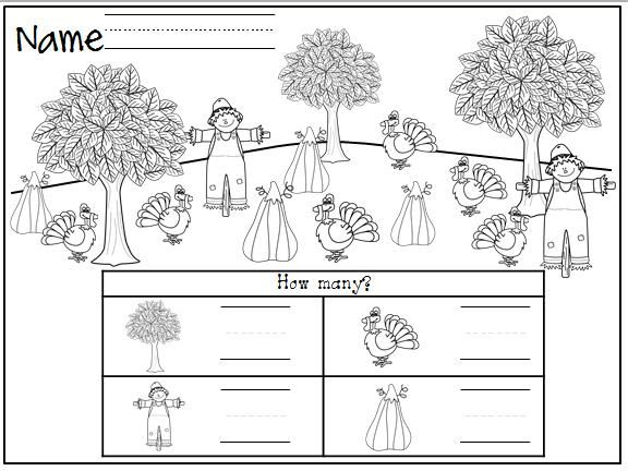 Fall or Thanksgiving math worksheet freebie Count the objects and – Fall Math Worksheet