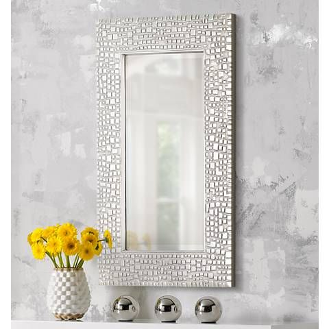 Savla Textured Relief Silver 24 X 36 Wall Mirror T9616 Lamps Plus Silver Wall Mirror Framed Mirror Wall Mirror Wall
