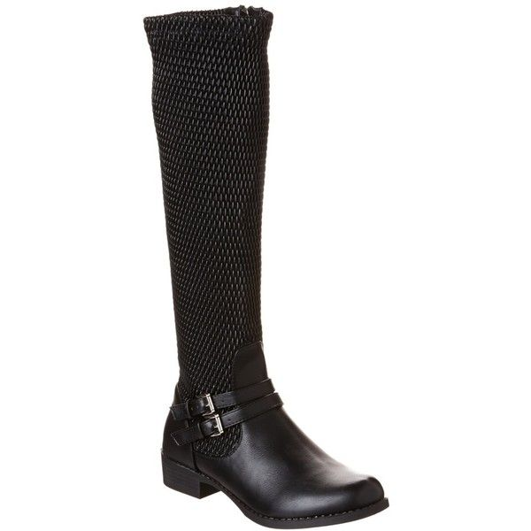 Bucco Bucco Kalvin Leather Boot (375 HRK) ❤ liked on Polyvore featuring shoes, boots, black, knee-high boots, short heel boots, real leather knee high boots, black low heel boots, knee boots and knee high boots
