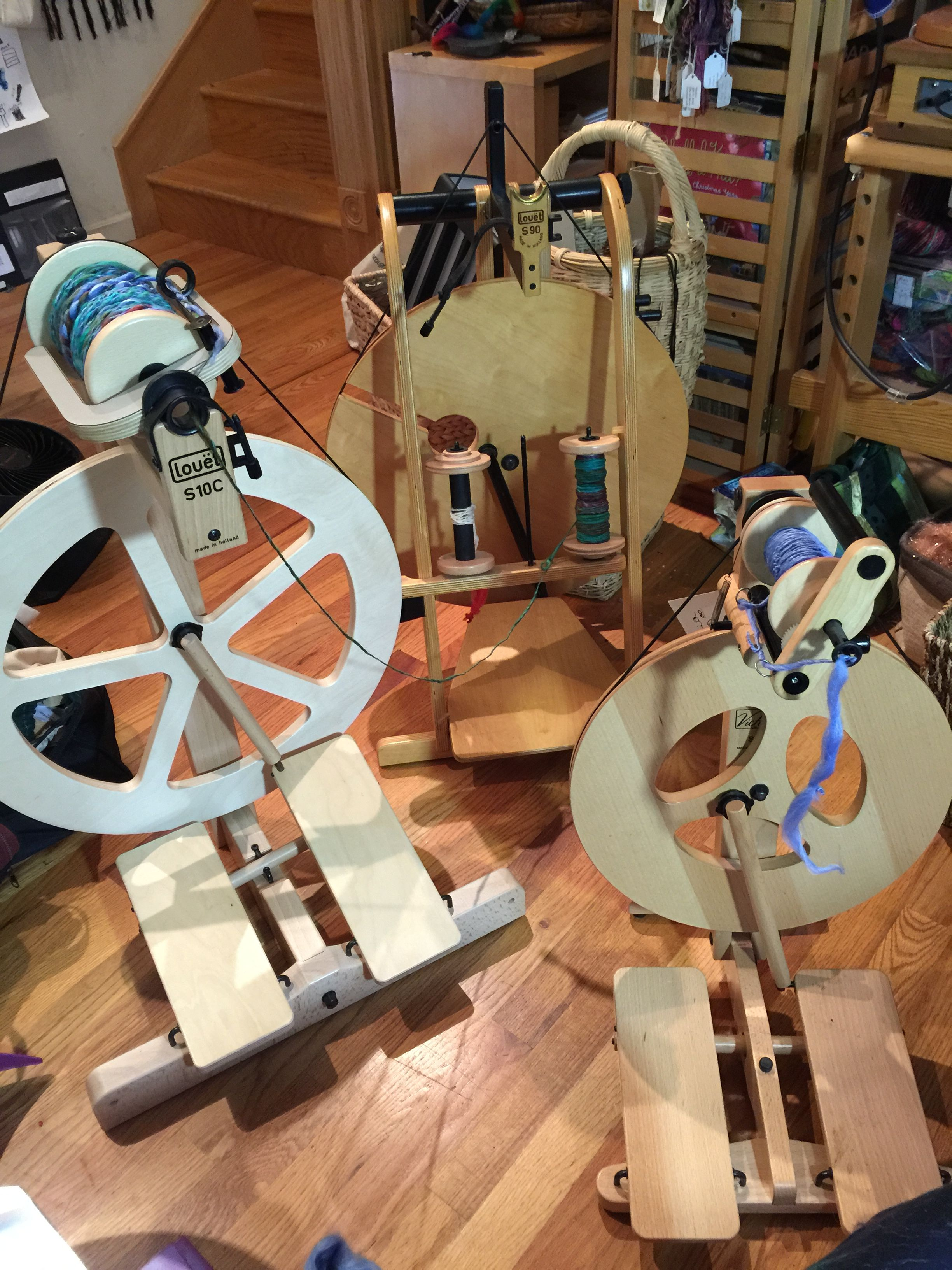 Part of My louet spinning wheel herd! happiness is having reliable non fussy Louet wheels at the ready day in day out to play  with fiber at!
