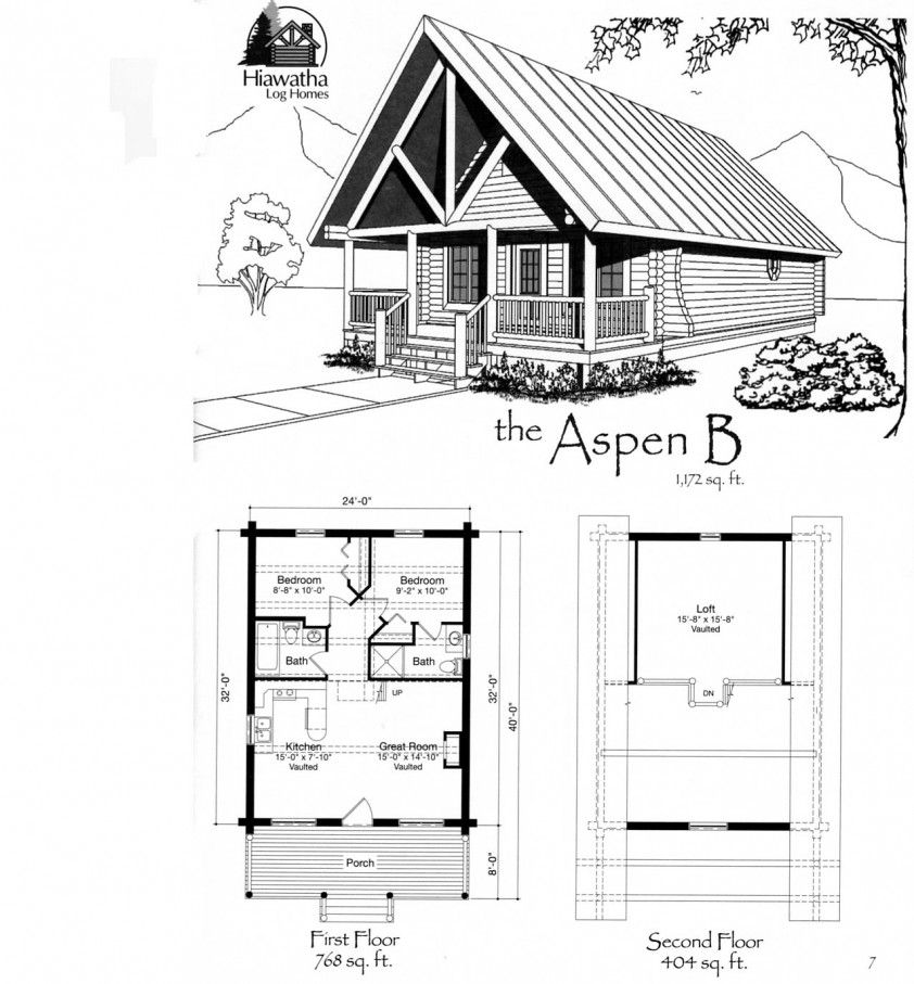 Tiny house floor plans small cabin floor plans features for Small log cabin plans with loft