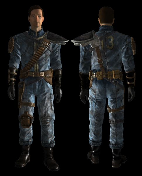 Front And Back Of An Armored Vault Suit Dream Cosplay Costumes