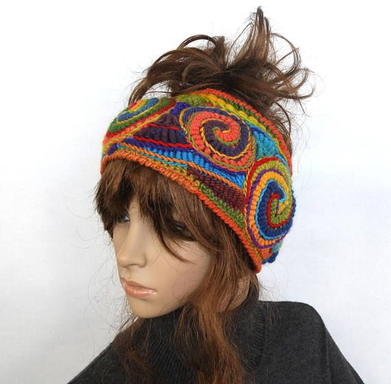 Ear Warmers, Crochet Ear Warmers Womens Rainbow Headband Ear warmers ...