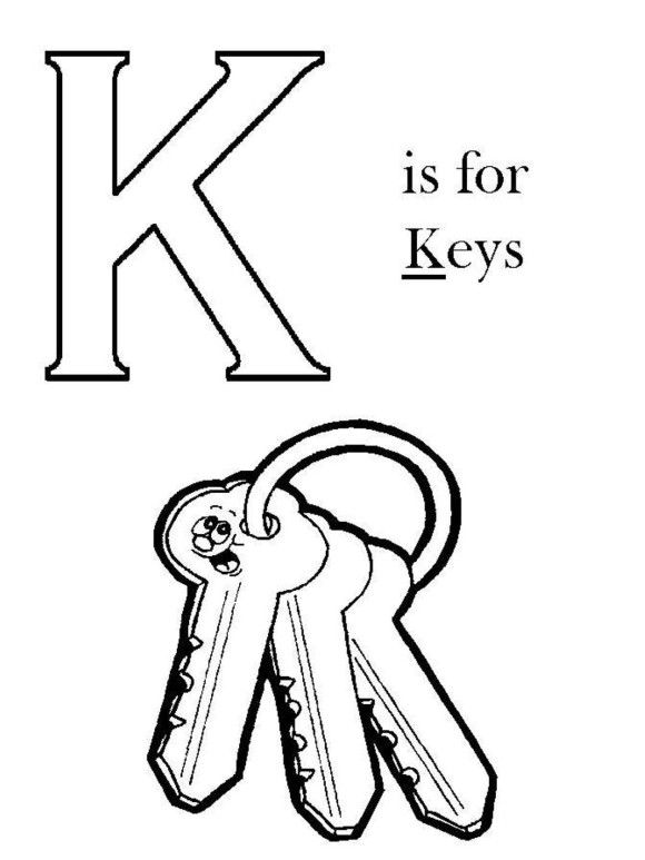 K Is For Key Alphabet Coloring Pages Free Alphabet Coloring