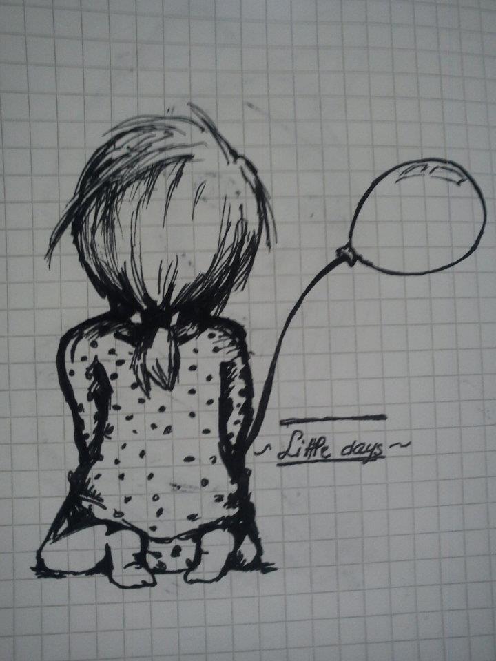 balloon, cute, draw, kid, little girl | Little girl ...