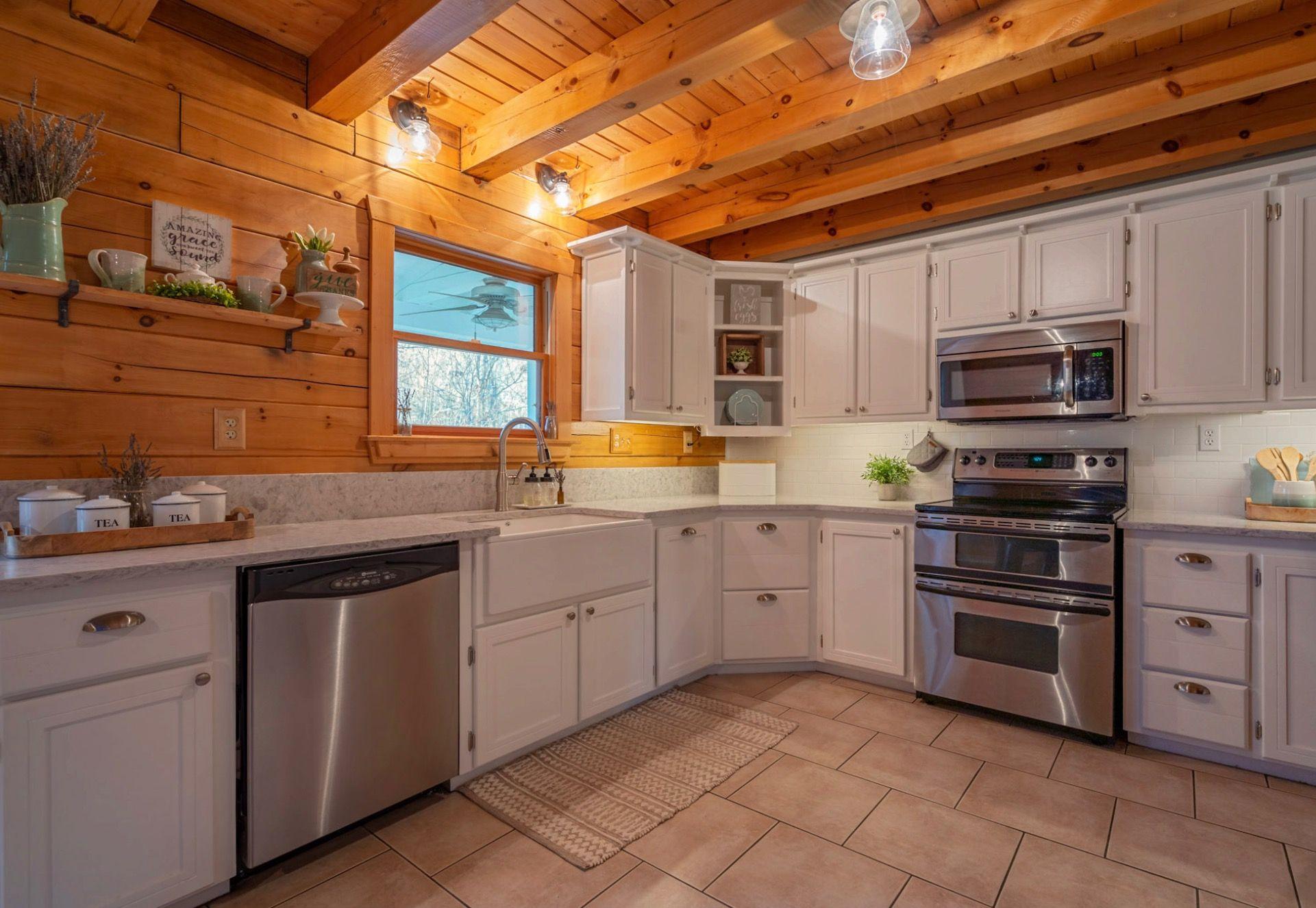 Farmhouse Cabin Kitchen White Cabinets Subway Tile Kitchen Dining Room Kitchen White Kitchen Cabinets
