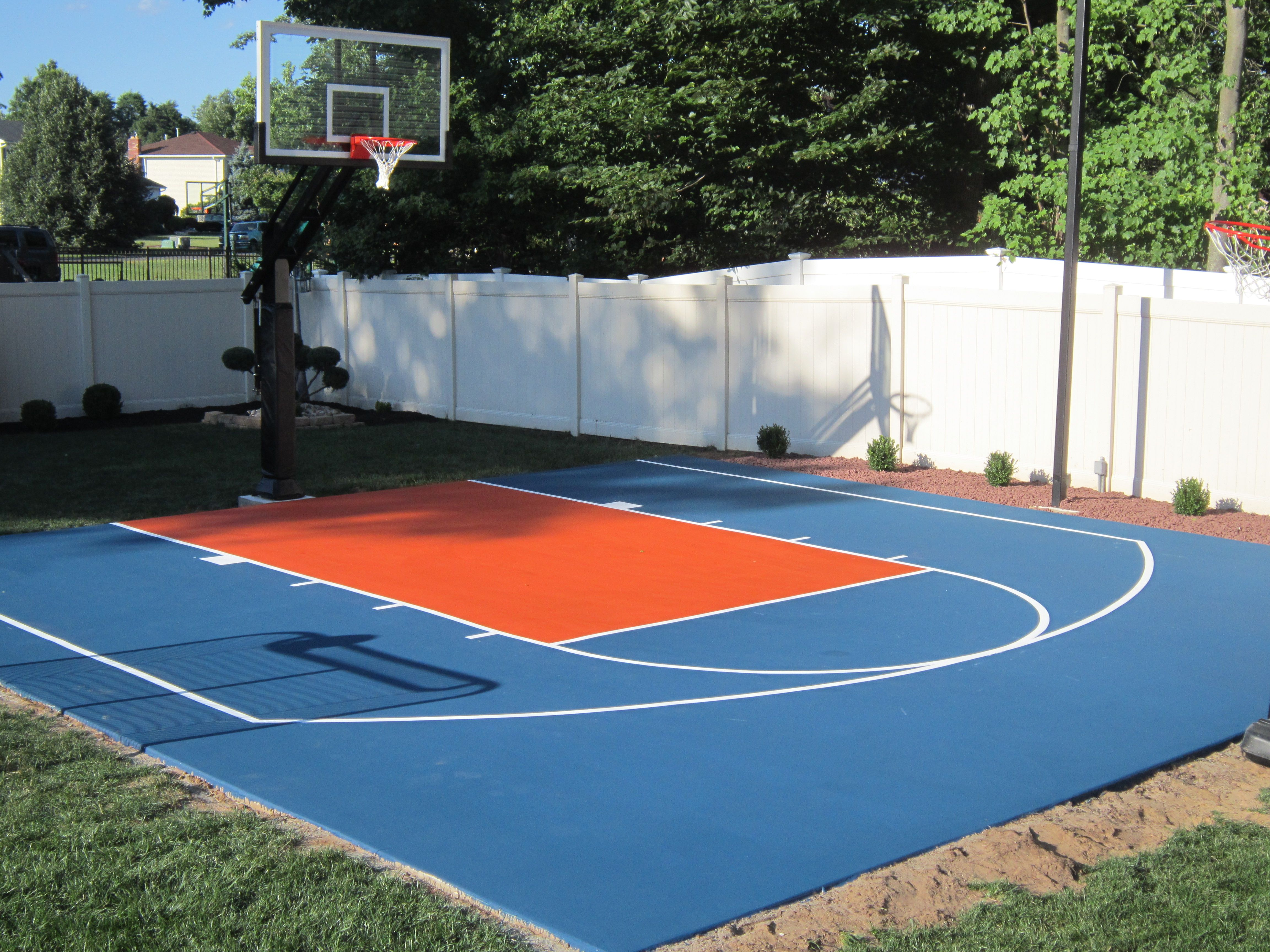 Backyard Basketball On A Concrete Slab Well Done Backyard Basketball Basketball Court Backyard Backyard Playground