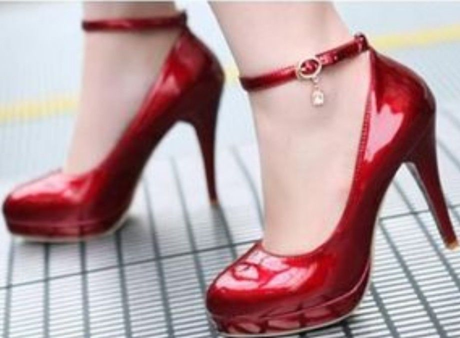 Ladies Womens Sexy Fashion Patent Ankle Strap High Heel Pumps Court Shoes 70-3