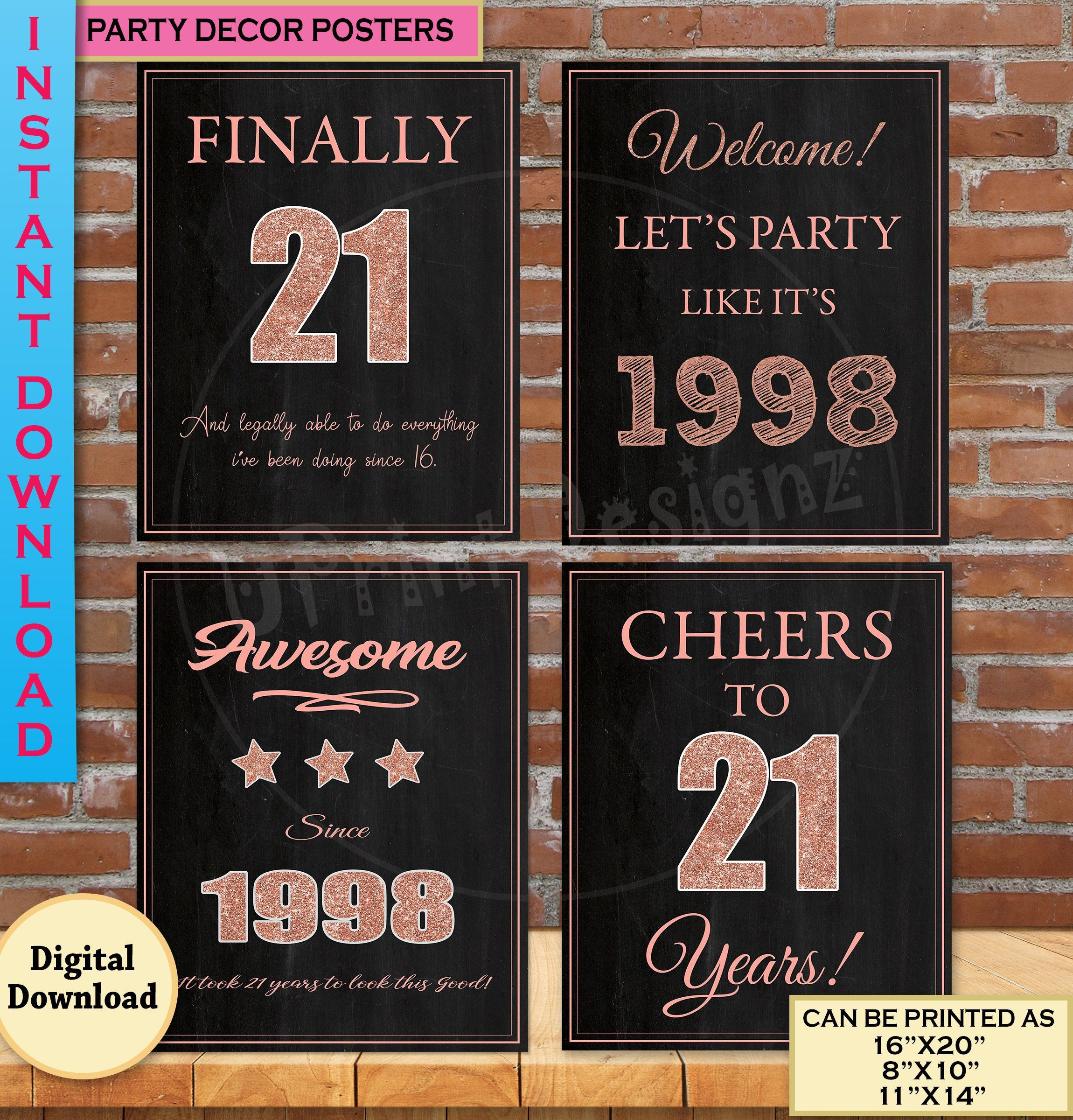 21st Birthday Party Decoration Posters 21st Birthday Gift Etsy 21st Birthday Poster 21st Birthday Sign 21st Birthday Decorations