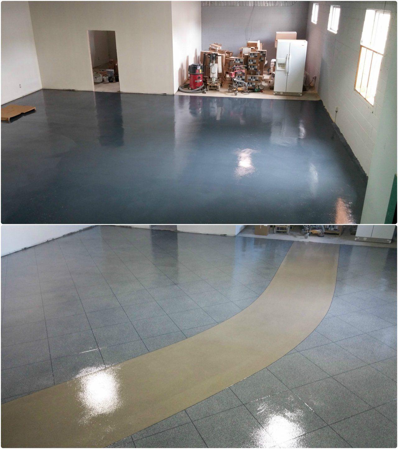 The Concrete Protector of Philadelphia showroom.   Epoxy Tile Flake ...