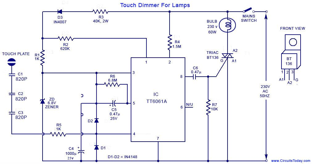 A simple touch dimmer circuit diagram using TT6061 IC
