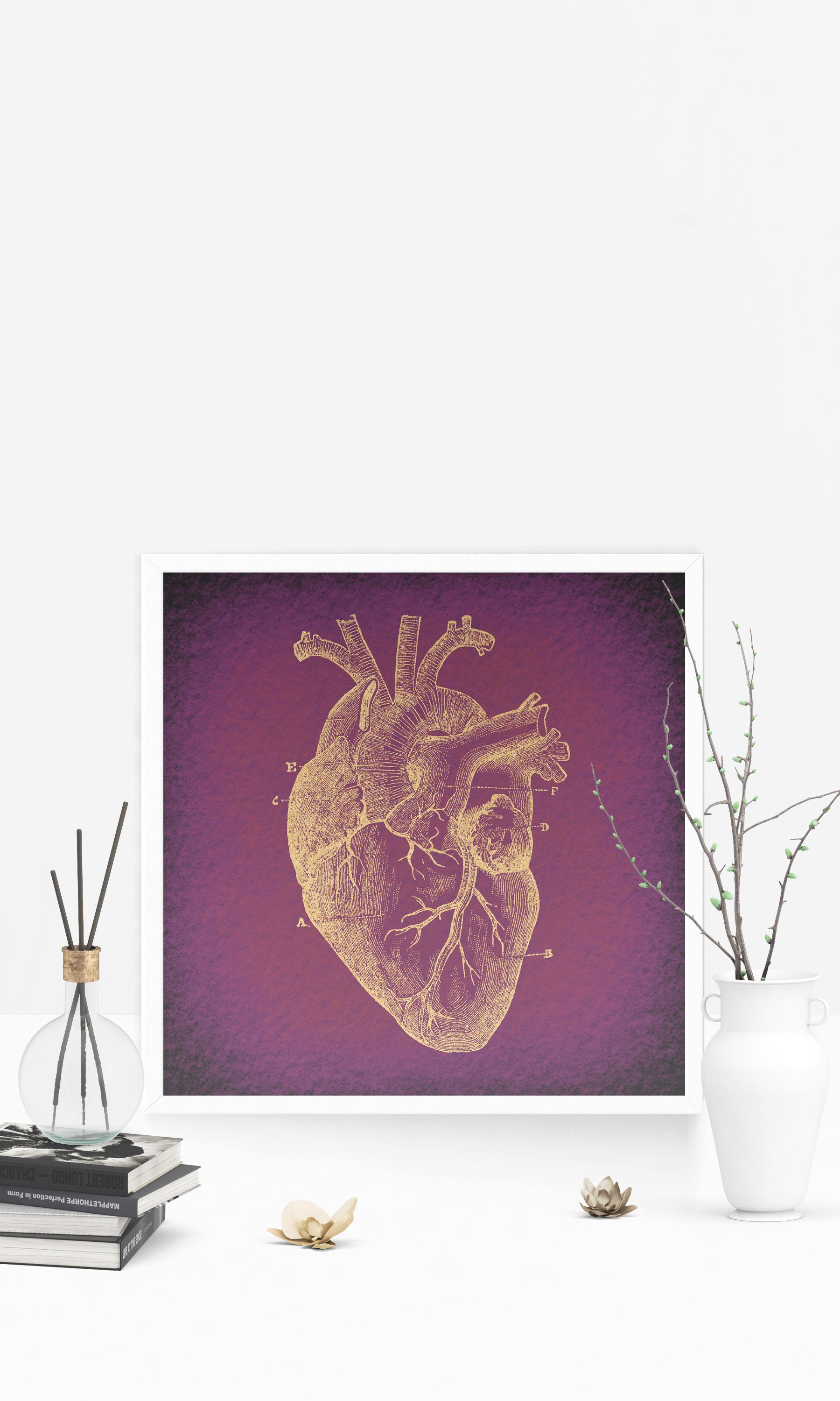 Clic Heart Diagram Wall Art Medical Anatomy Themed Home Decoration Antique Print Or Poster With A Vintage Purple Paper Style Office Bedroom