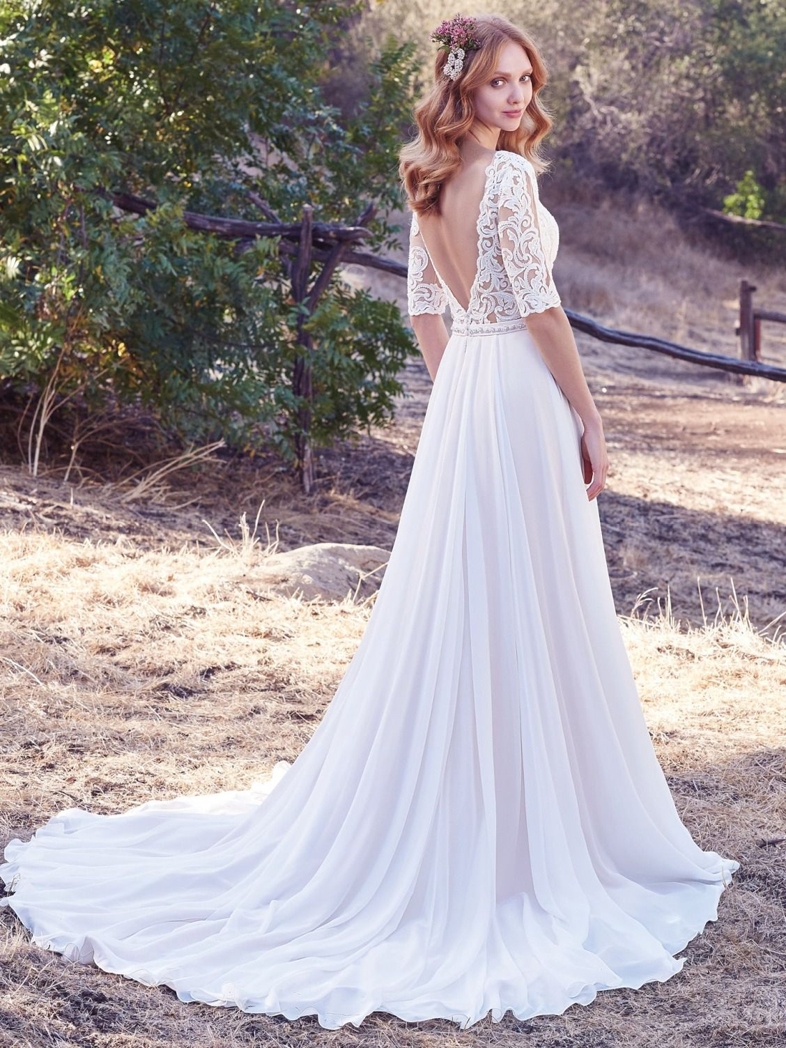 Maggie Sottero Darcy This Aurora Chiffon A Line Wedding Dress Features Lace Bodice With Illusion Elbow Sleeves And Bateau Neckline Accented In