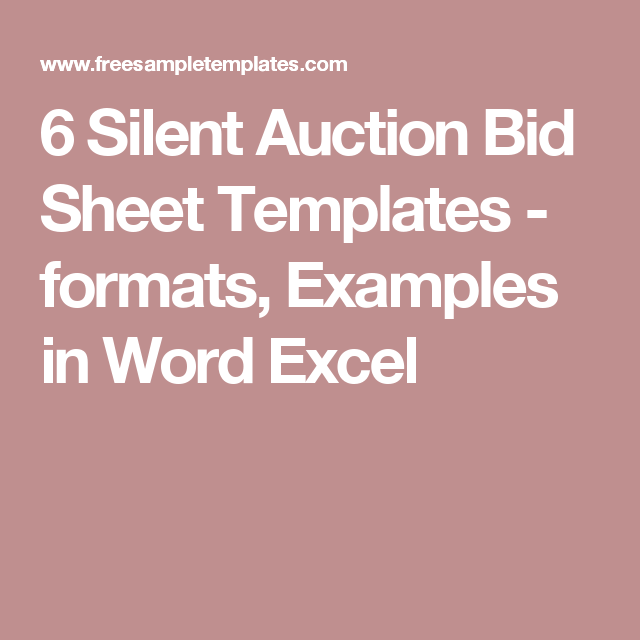 silent auction template excel