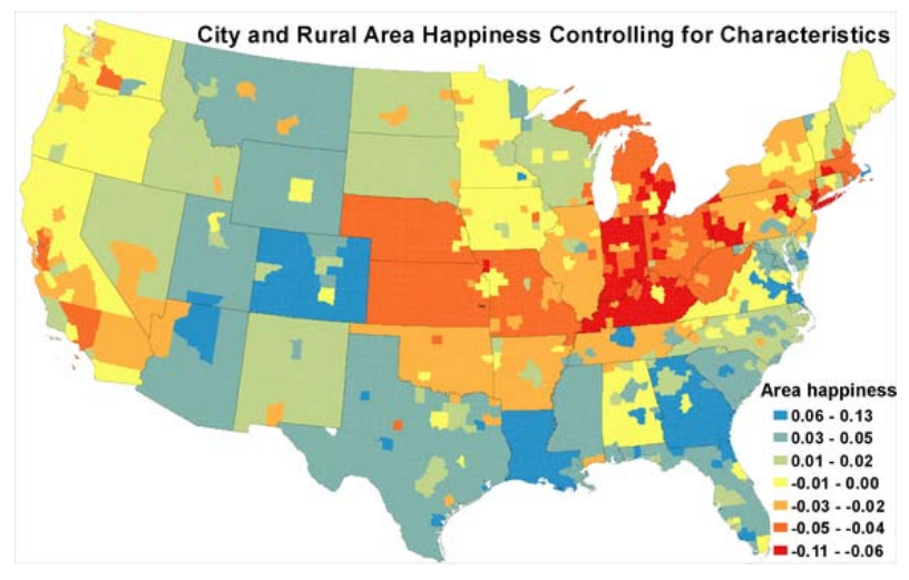 Map The Unhappiest Places In America - Map of rural areas in us
