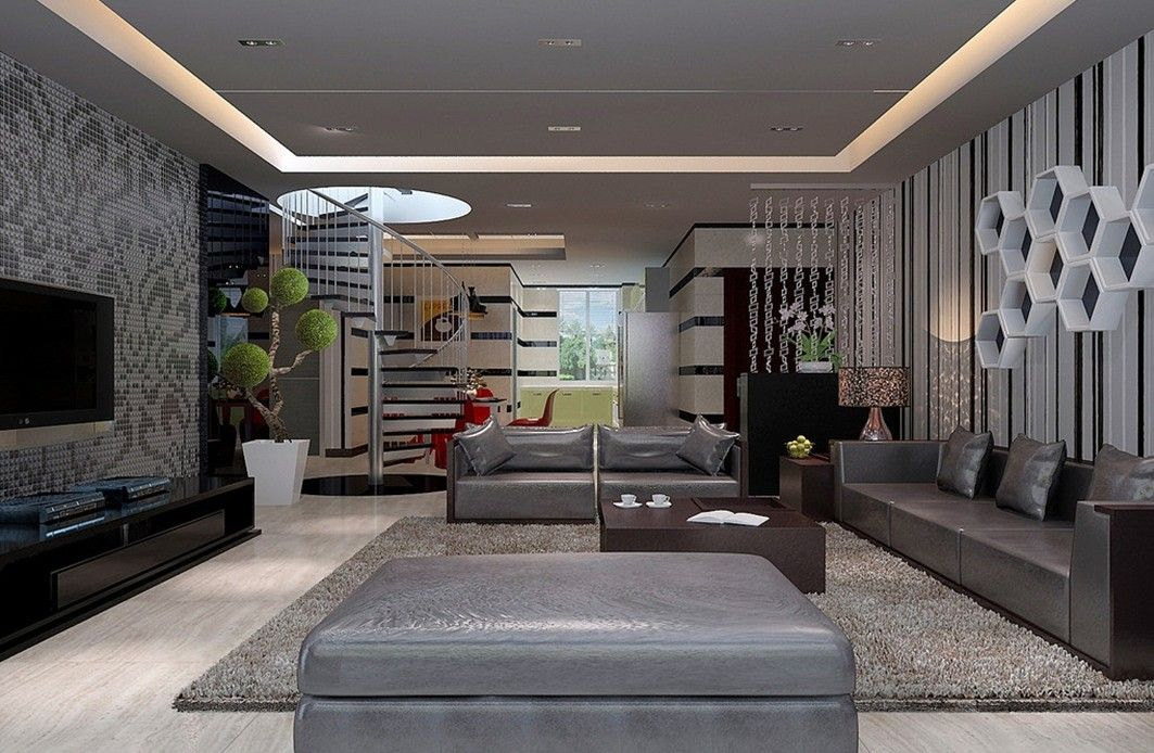 Cool modern interior design living room home interior for Interior design ideas for living room walls
