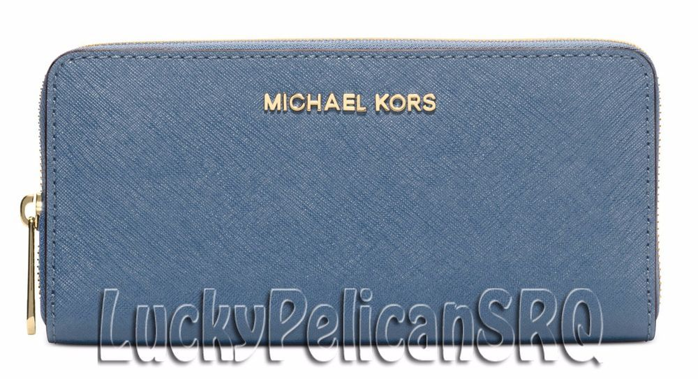 113f53cabe34 Michael Kors Jet Set Travel Zip Continental Wallet Saffiano Cornflower Blue  NWT  MichaelKors  continental