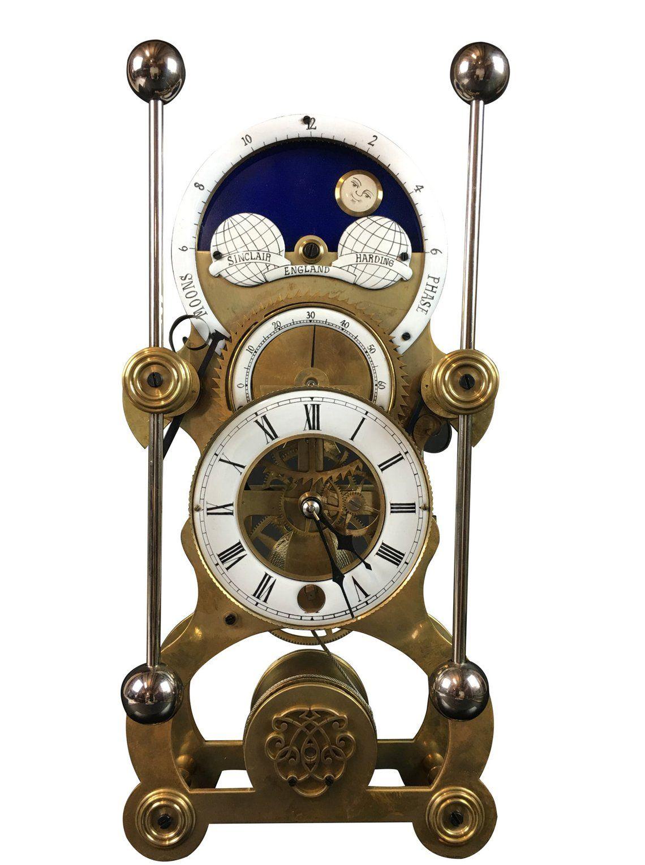Moon Dial Grasshopper Clock Brass Skeleton Clock John Harrison Sinclair Harding Sea Clock English Design Modern Mid Century Vintage Skeleton Clock Clock Unusual Clocks