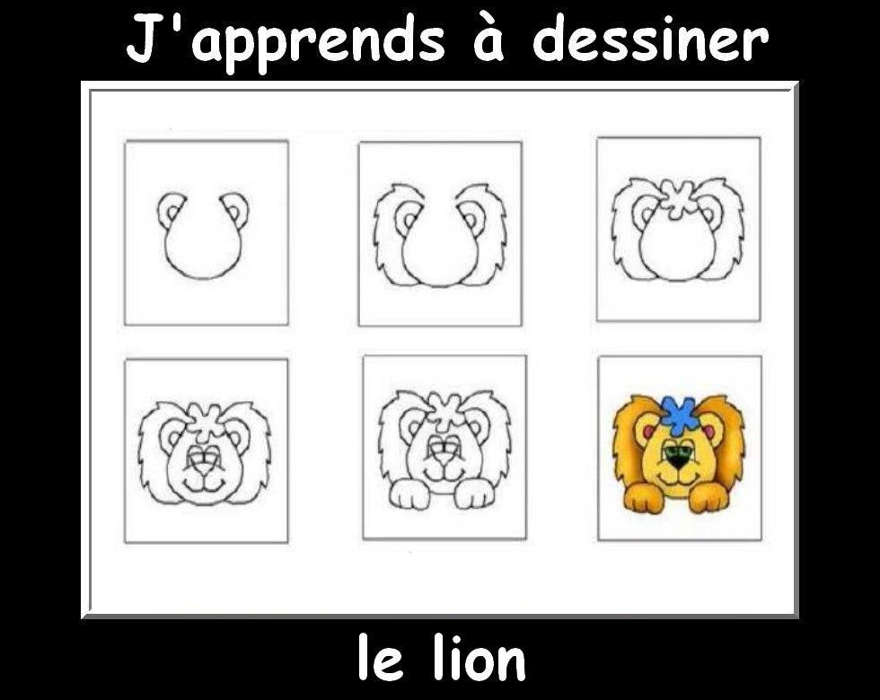 J 39 apprendre a dessiner lion graphisme pinterest dessiner les animaux et animal - Dessiner un lion facile ...