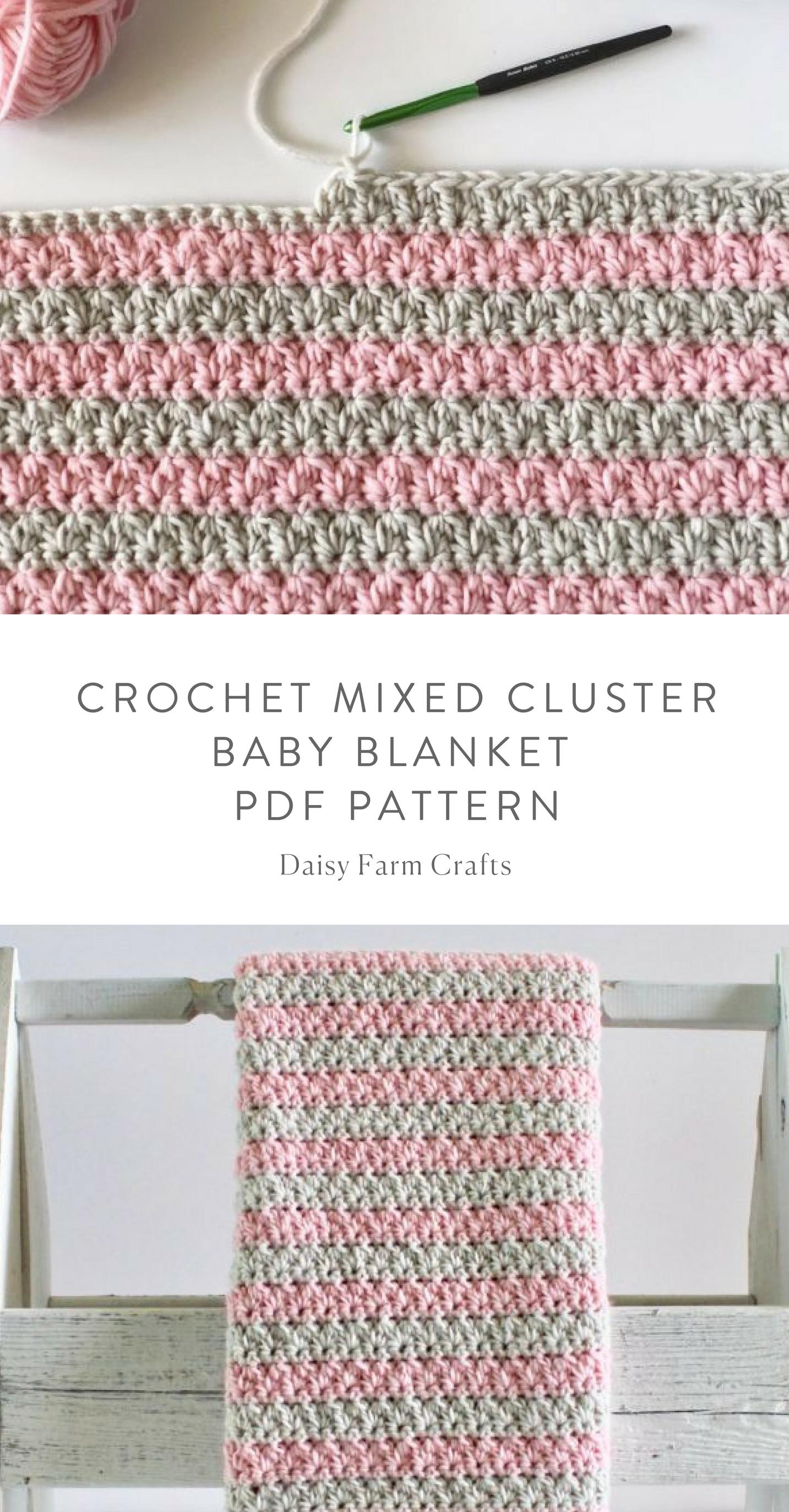 Crochet Mixed Cluster Baby Blanket Etsy Pdf Pattern Crochet Etsy