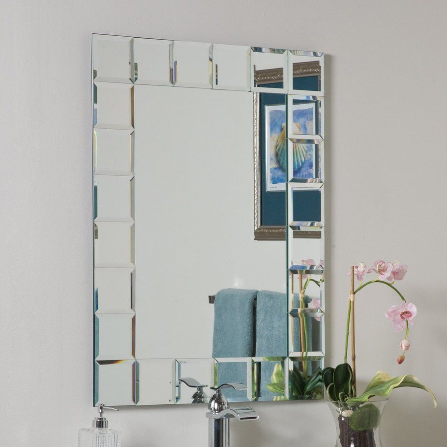 Decor Wonderland Montreal W X H Rectangular Frameless Bathroom Mirror With Hardware And Beveled Edges